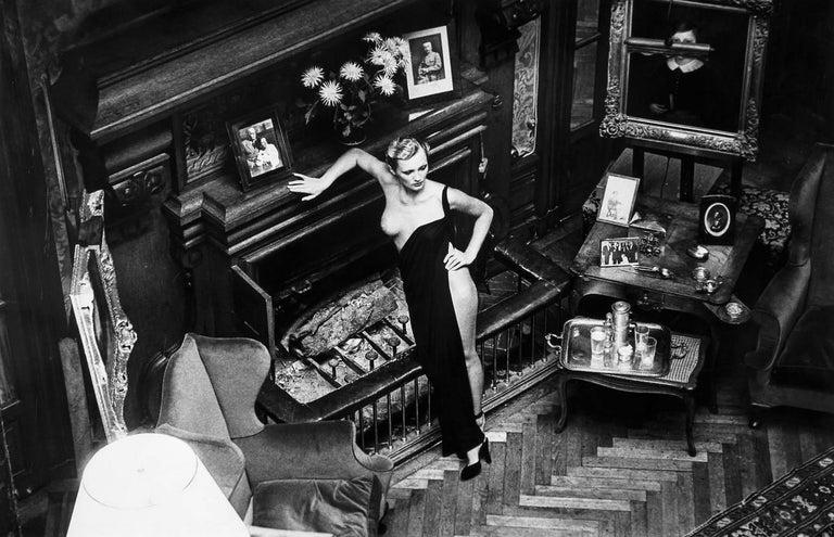 Helmut Newton Black and White Photograph - Roselyne, Chateau d'Arcangues (Salon)