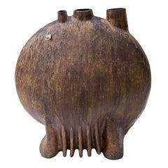 Helmut Schäffenacker Huge Round Maroon Glazed Stoneware Vase, 1960s