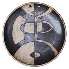 Helmut Schäffenacker Picasso Style Unique Stoneware Plate, 1960s
