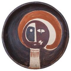 Helmut Schäffenacker Unique Brown Red Stoneware Face Plate, 1960s