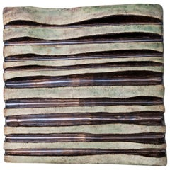 Helmut Schäffenacker Unique Ceramic Green Brown Wavy Wall Relief, 1960s
