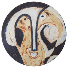 Helmut Schäffenacker Unique Face Stoneware Plate, 1960s