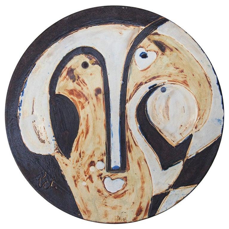 Helmut Schäffenacker Unique Face Stoneware Plate, 1960s For Sale