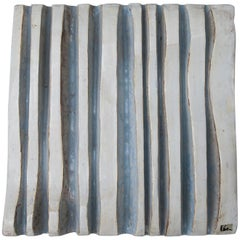 Helmut Schäffenacker Unique White Light Blue Wavy Wall Ceramic Relief, 1960s