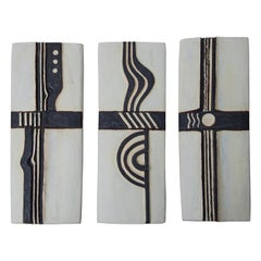 Helmut Schäffenacker White Black Geometric Wall Relief Set of 3