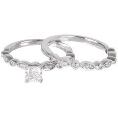 Helzberg Diamond Engagement Ring Set in 10 Karat White Gold GIA G SI1 0.62 Carat