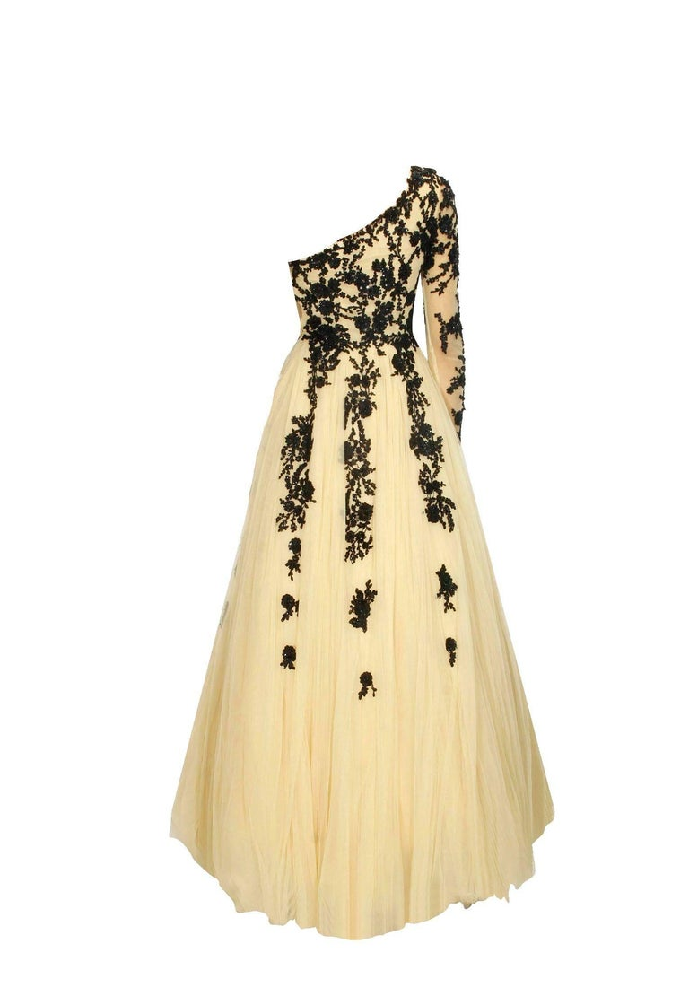 Hema Kaul Couture Asymmetric Embroidered Nude Fairytale Tulle ...