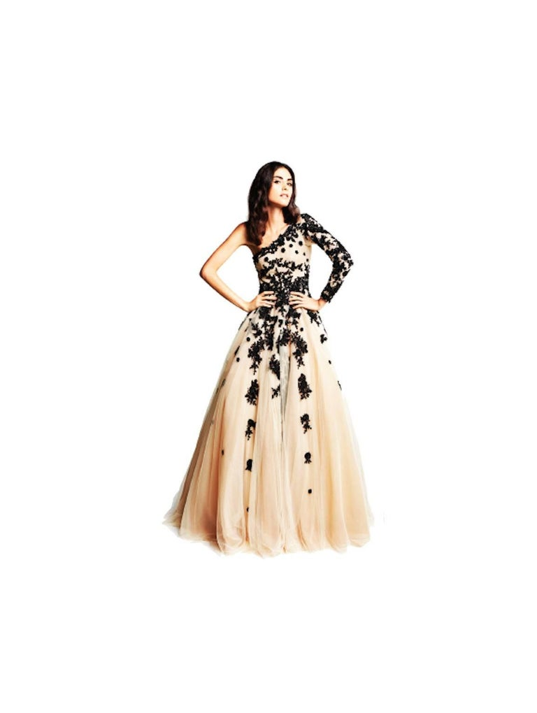Hema Kaul Couture Asymmetric Embroidered Nude Fairytale Tulle Evening Gown 1