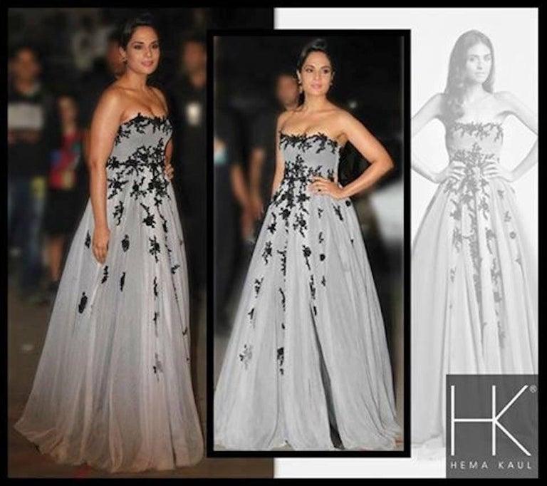 Women's Hema Kaul Couture Embroidered Grey Fairytale Tulle Evening Gown