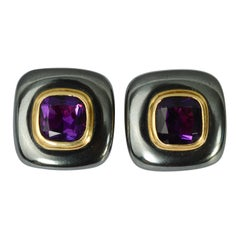 Hematite and Amethyst Gold Earrings