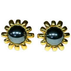 Hematite and Gold Earrings by Harry Winston