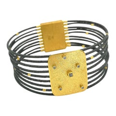 Hematite Raw Diamond Zircon Gold Plate Silver Hand Made Artist Modern Bracelets