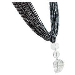 Hematite Rock Crystal Pendant 925 Gilded Silver Multi Strand Beaded Necklace