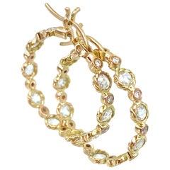 Hemera Rose-Cut Diamond Hoop Earrings 18 Karat Yellow Gold 0.881 Carat