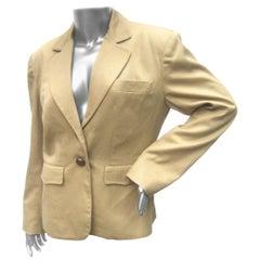 Hermes Paris Khaki Cotton Blend Womens Jacket Circa 1980s