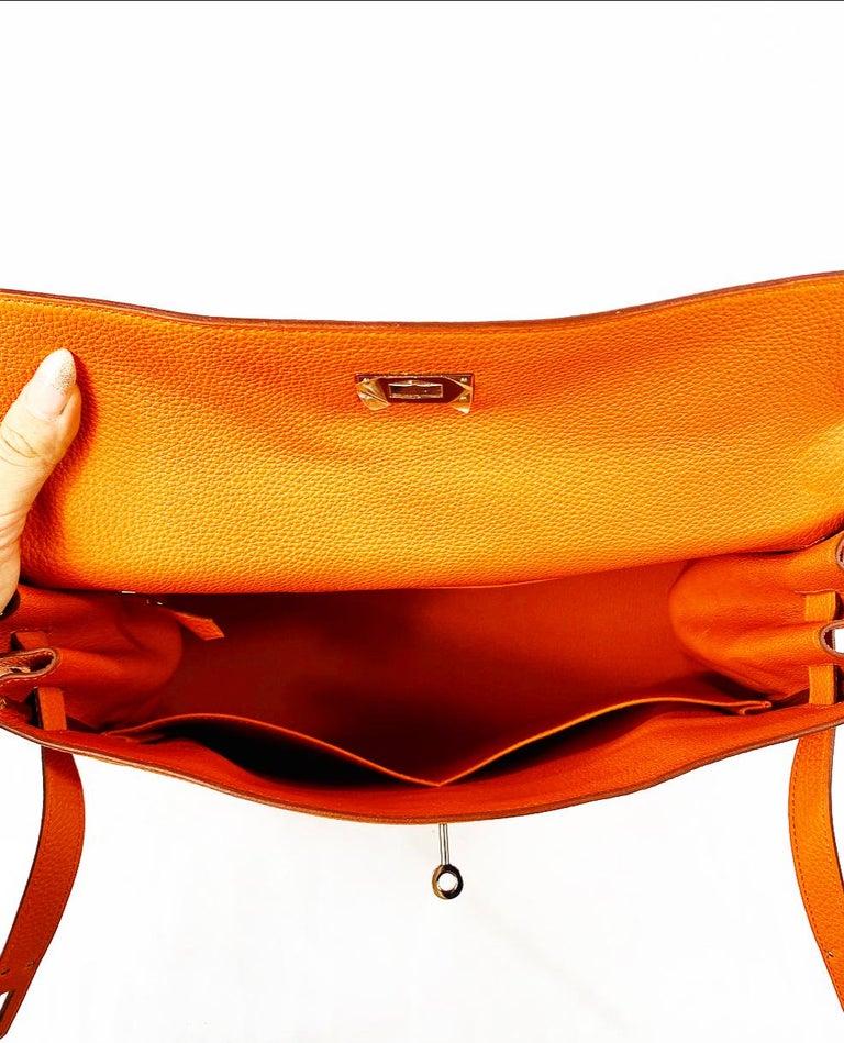 Hermes Soft Retourne 35 Kelly Orange Leather Handbag 6