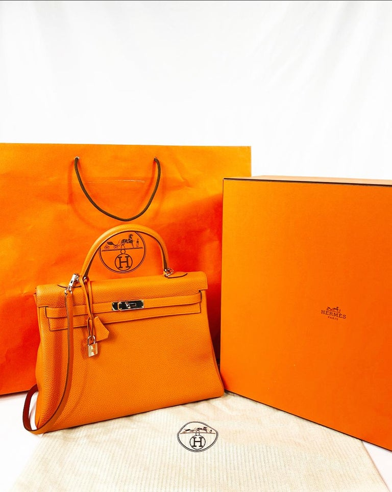 Hermes Soft Retourne 35 Kelly Orange Leather Handbag 7