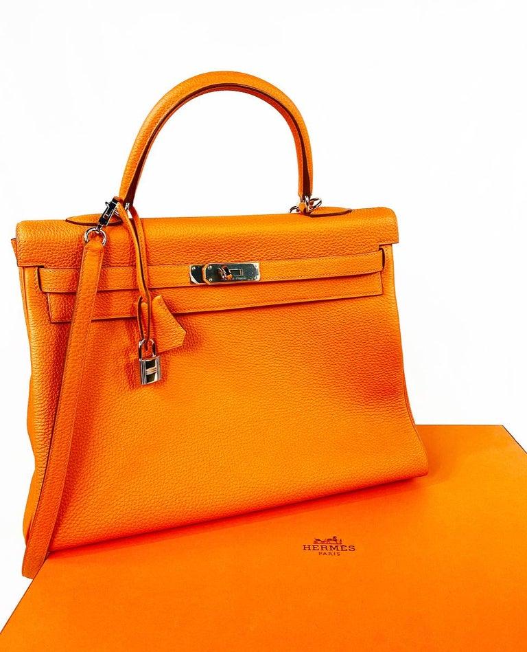 Hermes Soft Retourne 35 Kelly Orange Leather Handbag 8