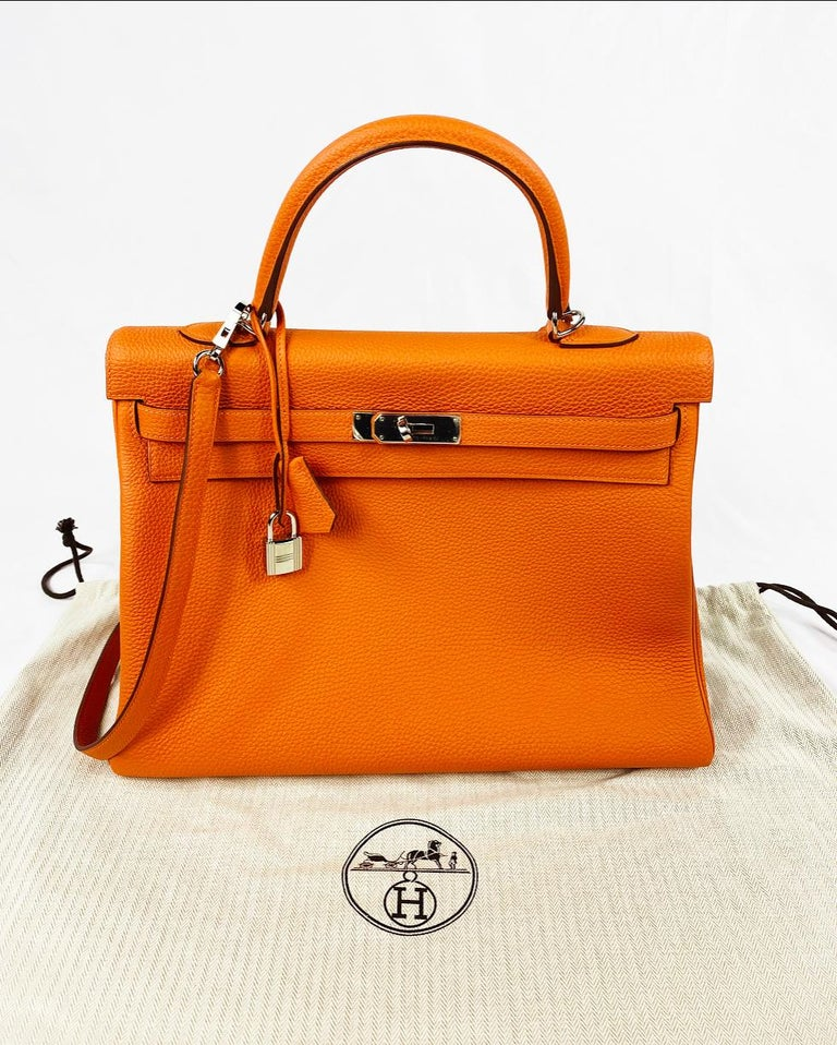 Hermes Soft Retourne 35 Kelly Orange Leather Handbag 9