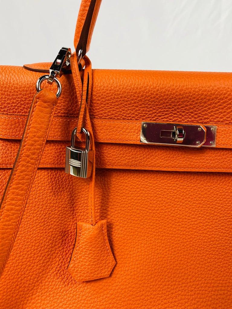 Hermes Soft Retourne 35 Kelly Orange Leather Handbag 10