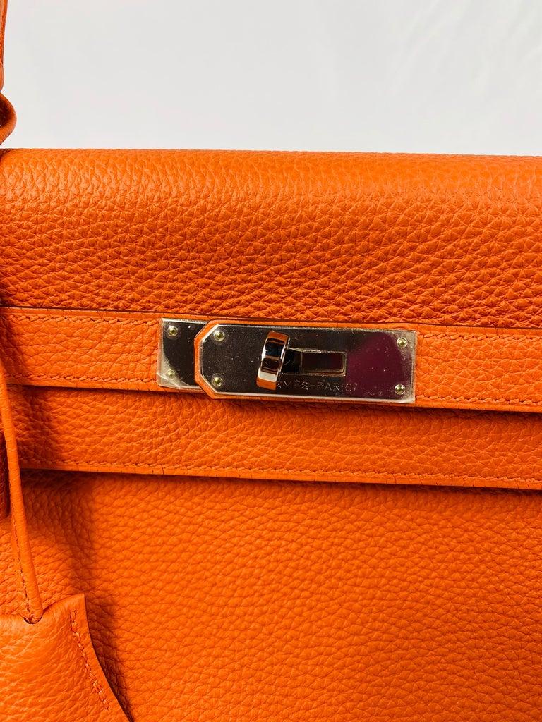 Hermes Soft Retourne 35 Kelly Orange Leather Handbag 11