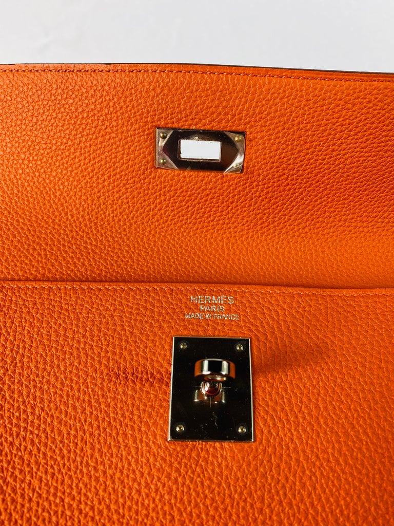 Hermes Soft Retourne 35 Kelly Orange Leather Handbag 12
