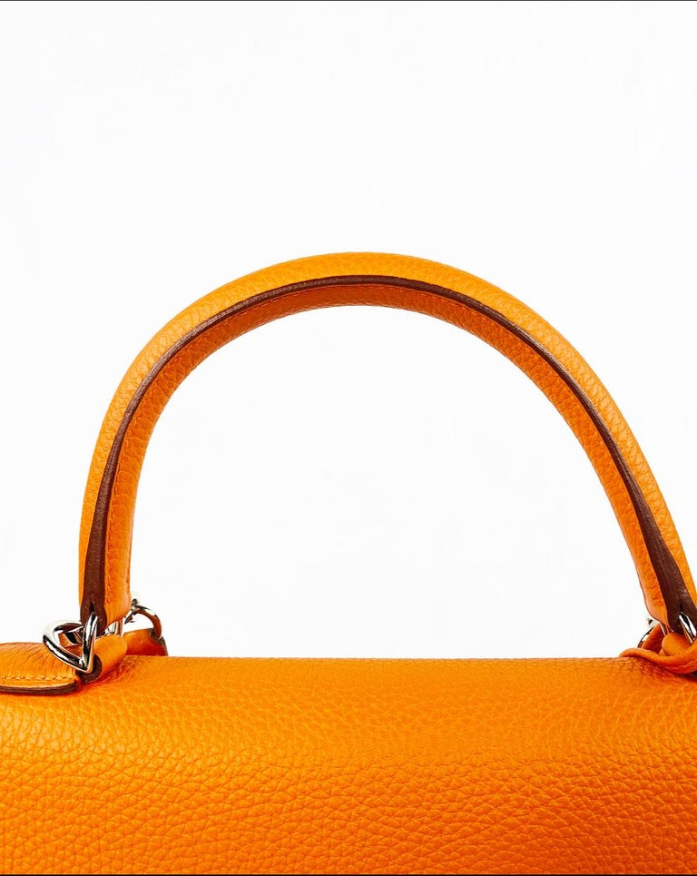 Women's or Men's Hermes Soft Retourne 35 Kelly Orange Leather Handbag