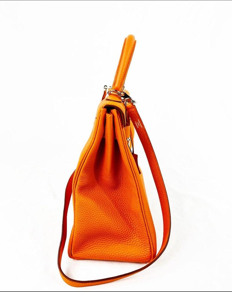 Hermes Soft Retourne 35 Kelly Orange Leather Handbag 1