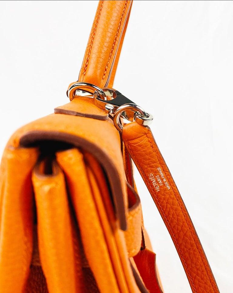 Hermes Soft Retourne 35 Kelly Orange Leather Handbag 2