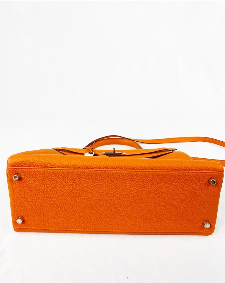 Hermes Soft Retourne 35 Kelly Orange Leather Handbag 3