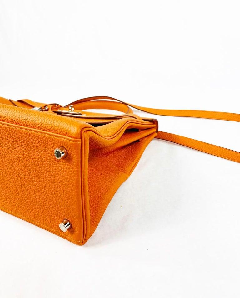 Hermes Soft Retourne 35 Kelly Orange Leather Handbag 4