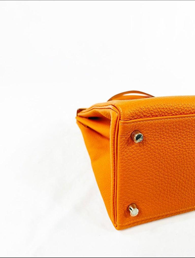 Hermes Soft Retourne 35 Kelly Orange Leather Handbag 5