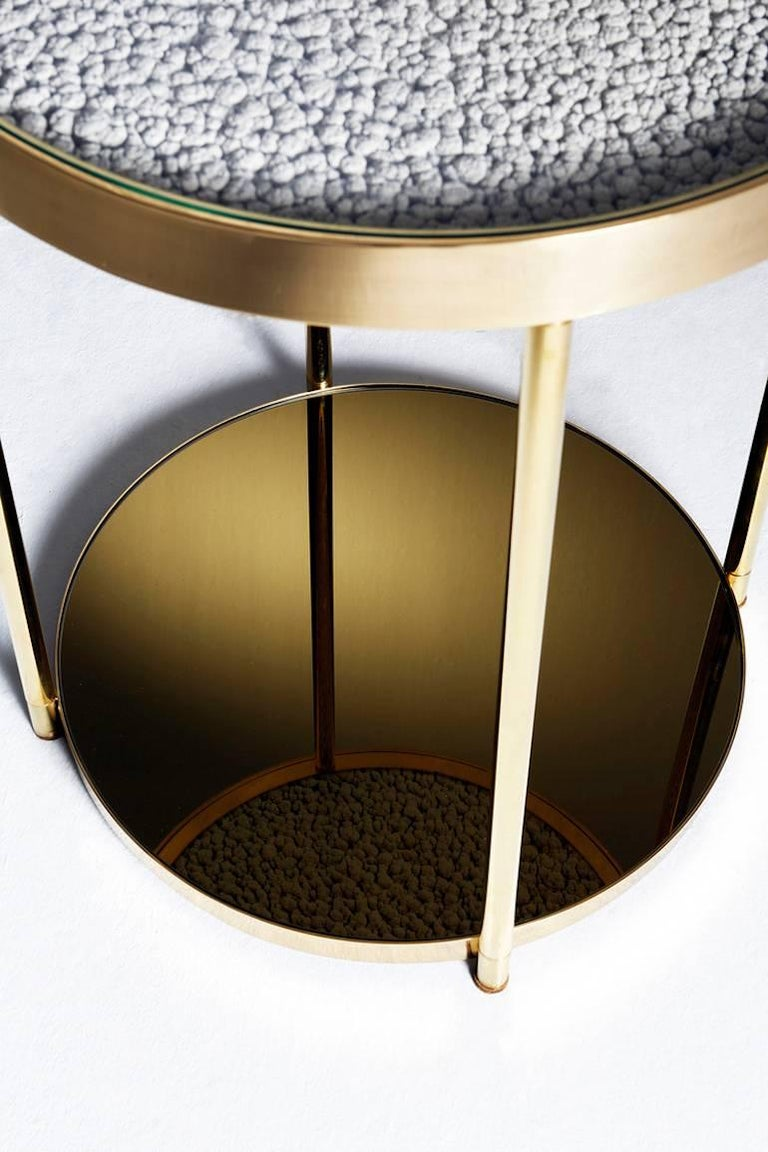 Hemlock Side Table End Table Polished Black Nickel and Smoked Mirrored Glass For Sale 3