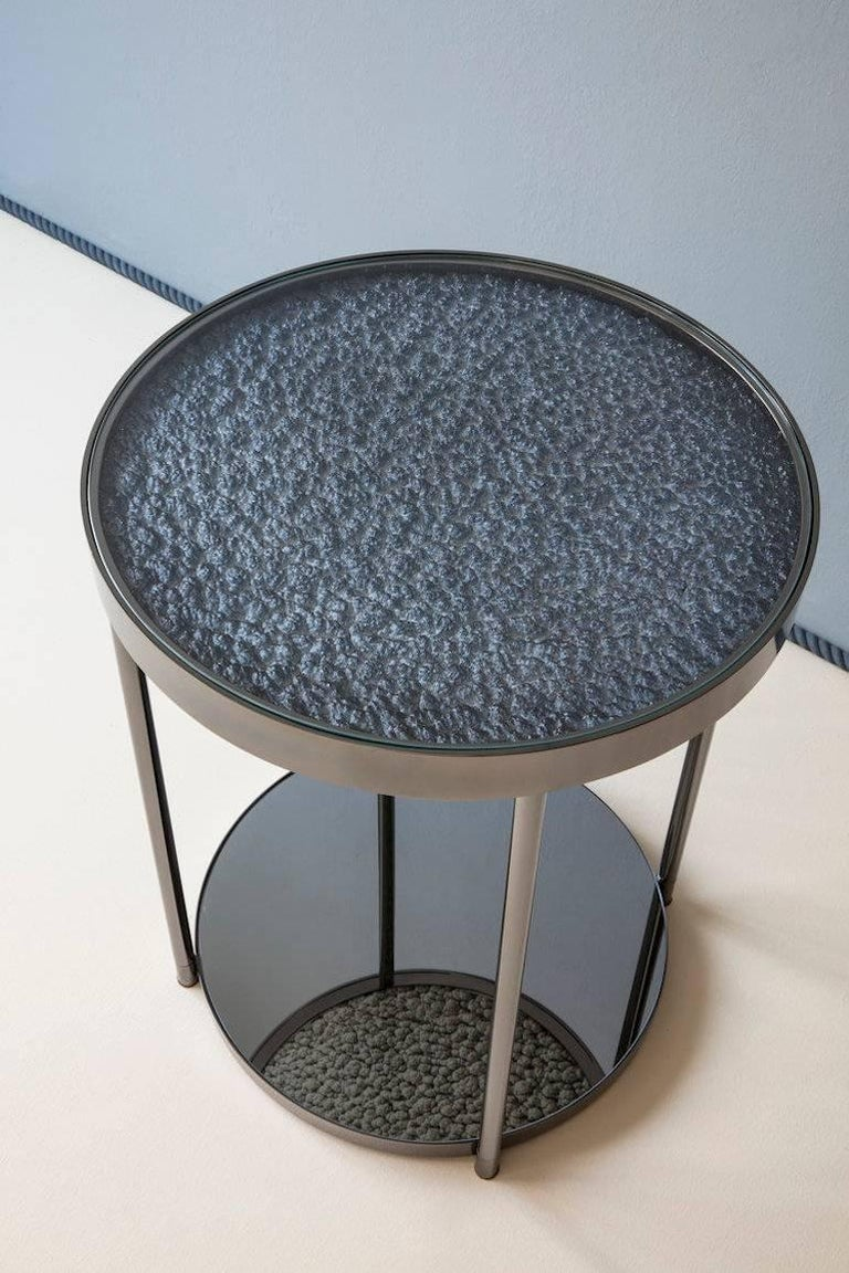 Modern Hemlock Side Table End Table Polished Black Nickel and Smoked Mirrored Glass For Sale