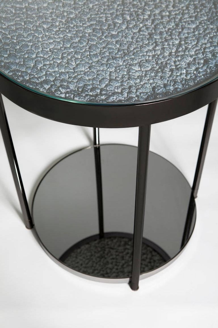 Turkish Hemlock Side Table End Table Polished Black Nickel and Smoked Mirrored Glass For Sale