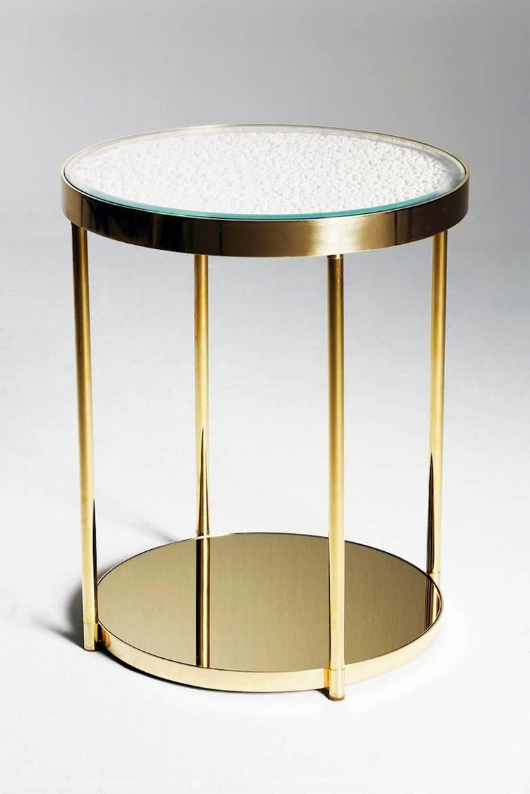 Contemporary Hemlock Side Table End Table Polished Black Nickel and Smoked Mirrored Glass For Sale