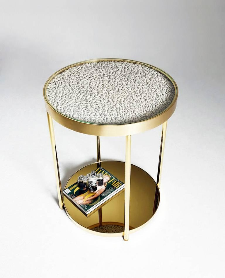 Brass Hemlock Side Table End Table Polished Black Nickel and Smoked Mirrored Glass For Sale