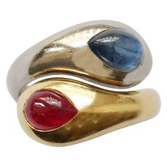 Hemmerle Bi-Color Gold Snake Ring Set with Sapphire and Ruby