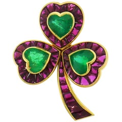 Hemmerle Ruby Emerald Gold Clover Clip Pin Brooch
