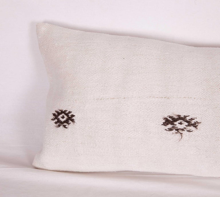 Hand-Woven Hemp Lumbar Pillow Case Made from a Mid-20th Century Turkish Hemp Kilim For Sale