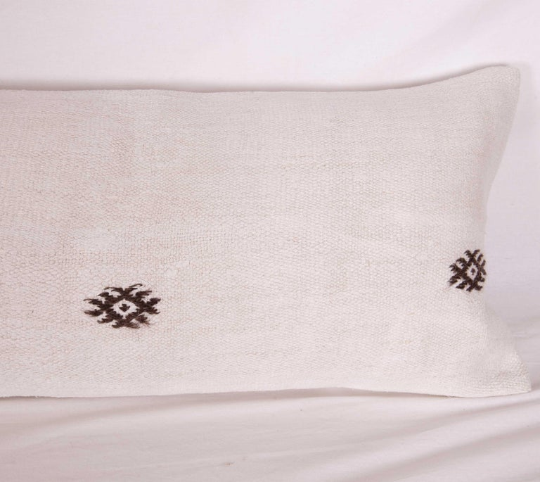 Hemp Lumbar Pillow Case Made from a Mid-20th Century Turkish Hemp Kilim For Sale 1