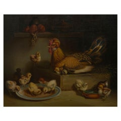 """Hen and Chicks"" '1867' Antique Oil Painting by Andrea Cherubini, Italian"
