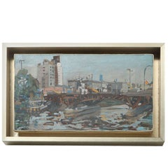Hencer Molina Oil on Canvas, Port Scenes of Buenos Aires