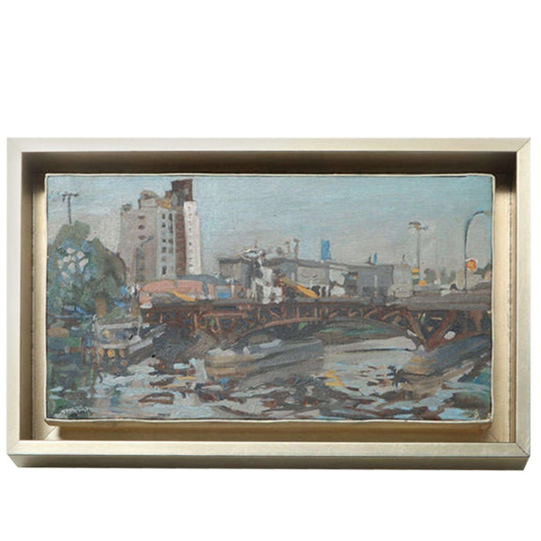 Hencer Molina Oil on Canvas, Port Scenes of Buenos Aires For Sale