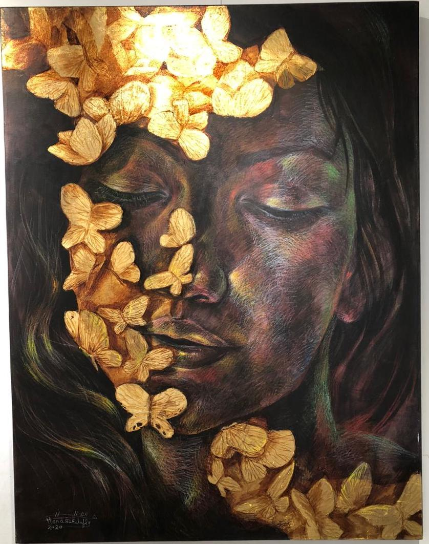 """""""Nectar of Flowers II"""" Pencil & Acrylic Painting 51"""" x 39"""" in by Hend EL Falafly"""