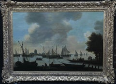 View of River Dort, Dordrecht in Distance - Dutch 17thC Old Master oil painting