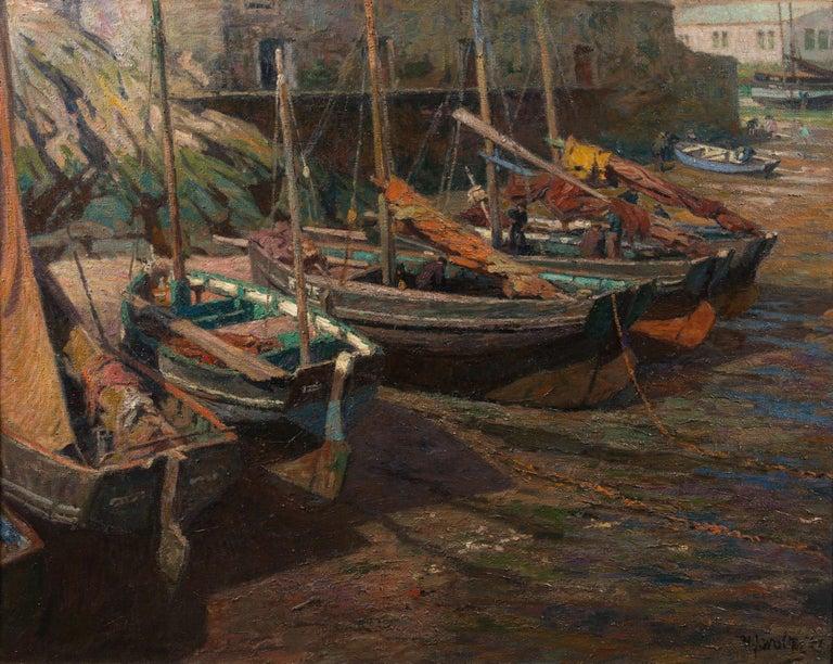 Polperro Harbour, Cornwall - Painting by Hendrik Jan Wolter