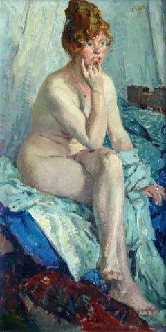 Portrait of Gysberti Hodenpyl - Post Impressionist Oil, Nude by Jan Wolter