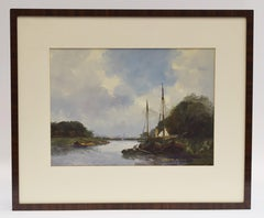 View of Wormerveer - Gouache Waterfront Boats Landscape - The Haque School