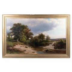 Hendrik Kruseman van Elten Landscape with Sheep and Stream, Oil on Canvas, 1870